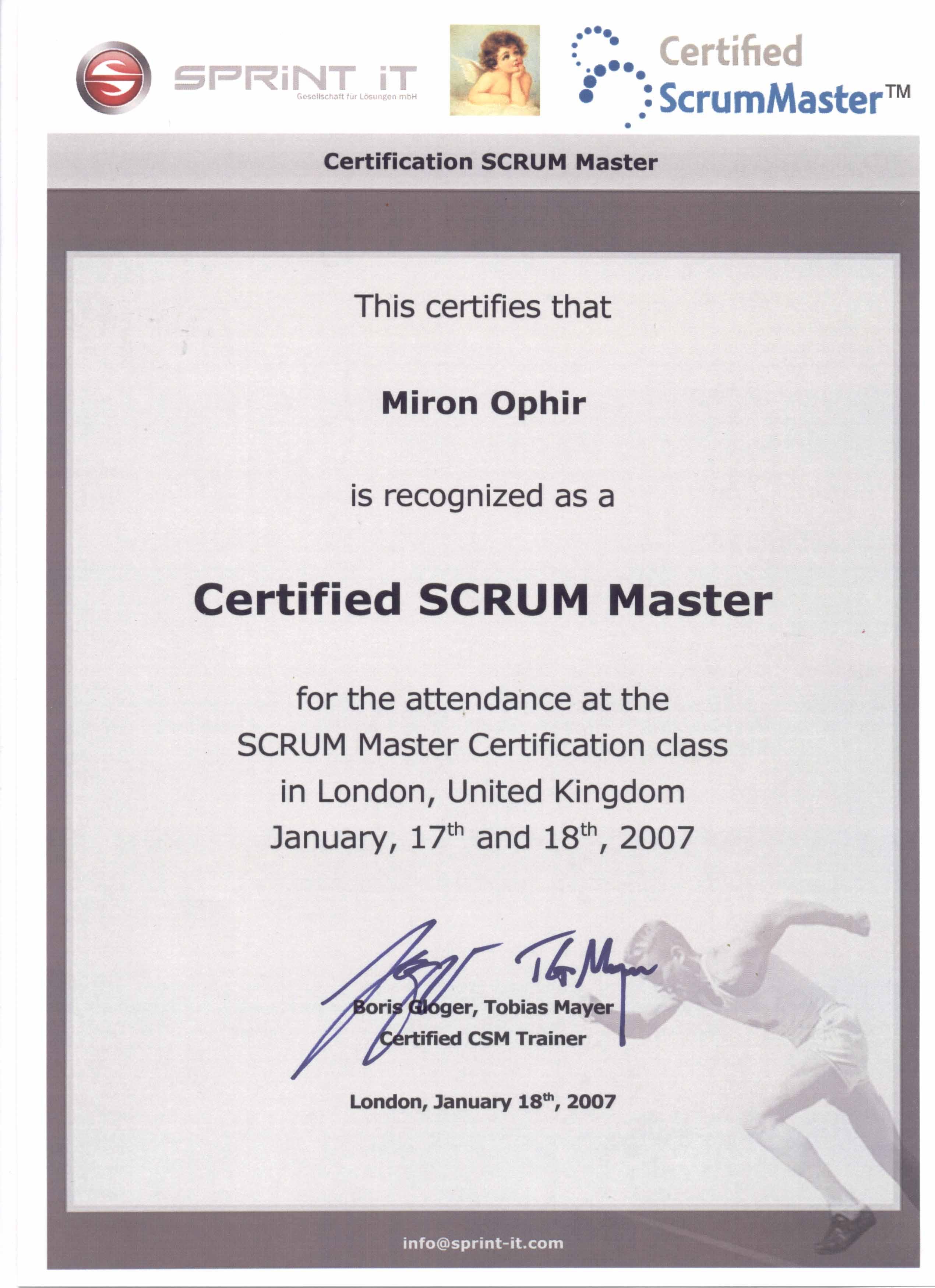 SCRUM Master certificate